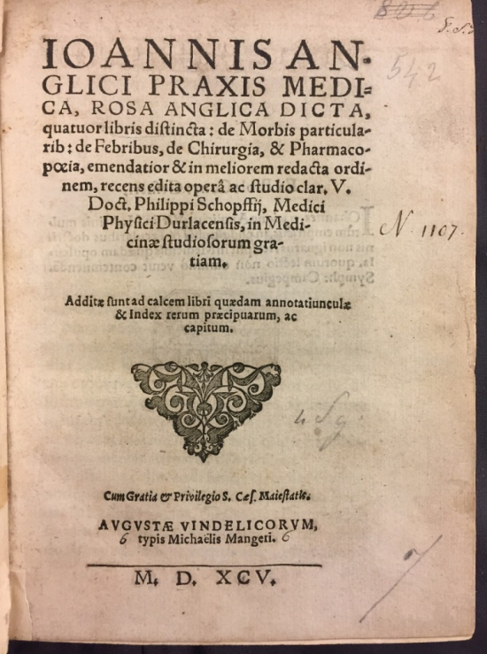 Title page of Praxis medica rosa anglica by John of Gaddesden.