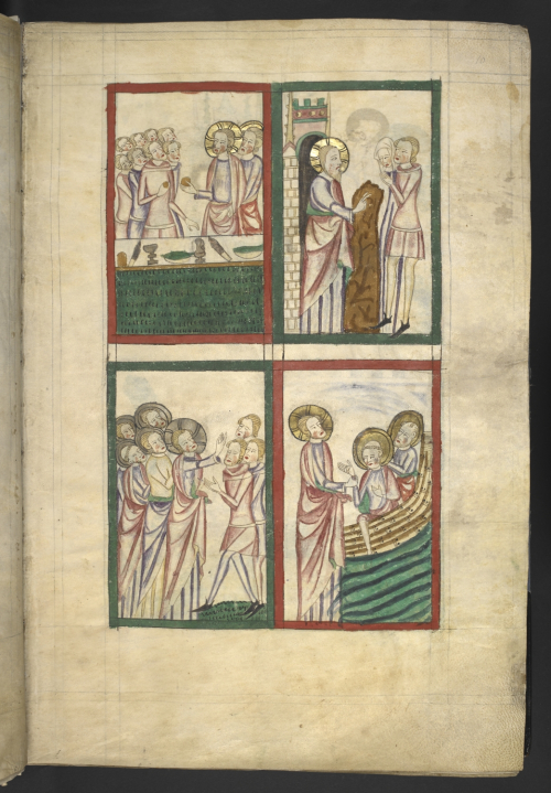 A page from a manuscript of the Omne Bonum, showing an illustration of Christ's miracles.