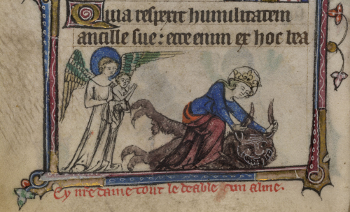 The Virgin Mary hands off baby Jesus and tackles the devil (in the Taymouth Hours, c.1325–40)