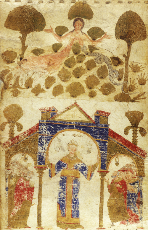 Tellus and Ecclesia, the personifications of Mother Earth and the Church (c.1075): Add MS 30337, f. 3r.