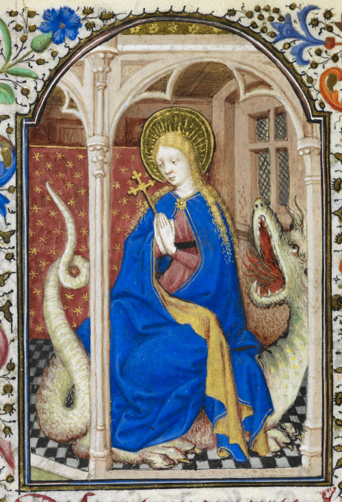 Margaret of Antioch with a dragon, often considered the patron saint of pregnant women (1440s): Yates Thompson MS 3, f. 282v.