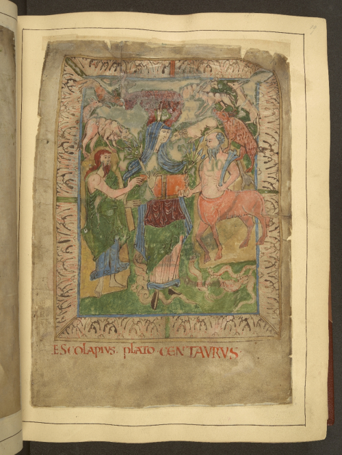 A page from the Old English Herbal, showing an illustration of a centaur presenting a book to two figures.