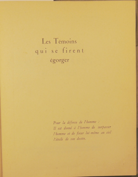 French Resistance Temoins half-title