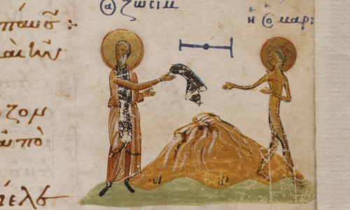 A detail from the Theodore Psalter, showing a marginal illustration of Zosimas handing Mary a cloak.