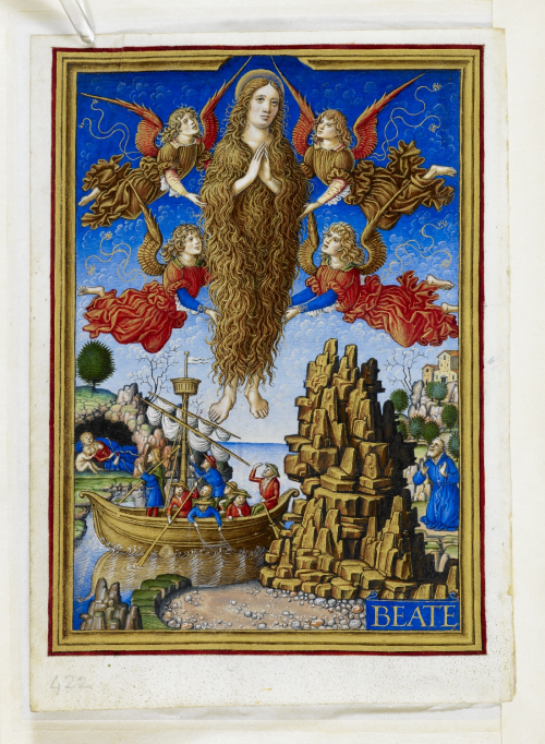 A page from the Sforza Hours, showing an illustration of Mary Magdalene, represented with long hair.