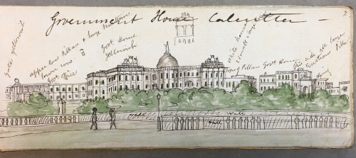 View of Government House, Calcutta, anonymous British artist, c. 1849. British Library WD 4593, f. 7
