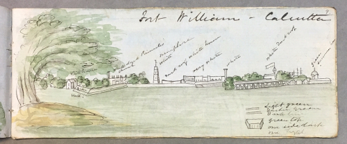 View of Fort William, Calcutta, anonymous British artist, c. 1849. British Library, WD 4593, f. 9