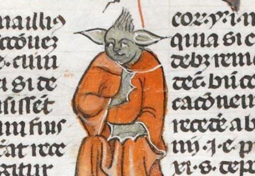 A detail from the Smithfield Decretals, showing a marginal illustration of a grotesque.