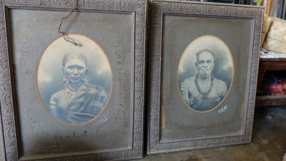 Portraits of a man and woman in matching frames.