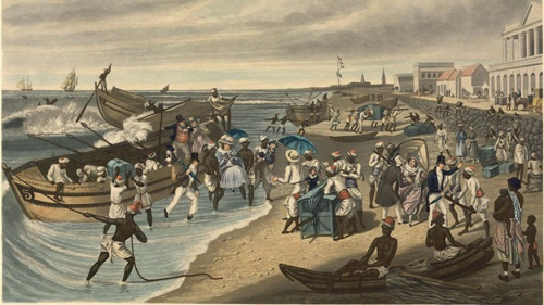 Passengers being carried ashore on arrival at Madras