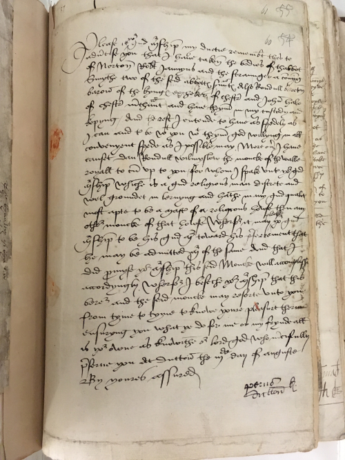 Letter from Piers Dutton to Thomas Cromwell, 3 August 1536: Harley MS 604, f. 60r.
