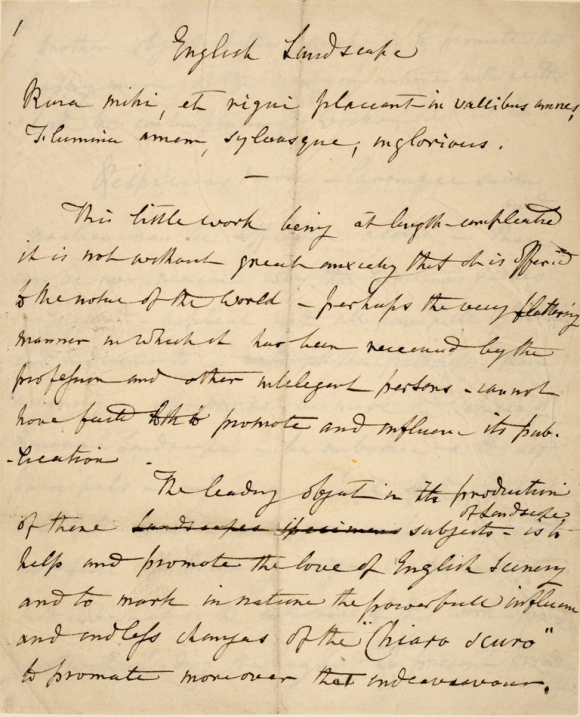 John Constable's draft introduction to English Landscape