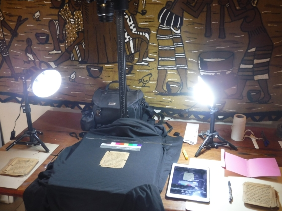 The digitisation set-up (with batik cloth attached to the wall).