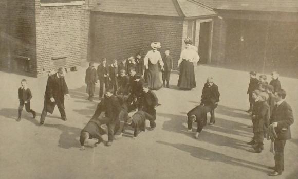 Children playing under supervision