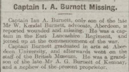 Newspaper article stating that Captain Ian A Burnett was missing