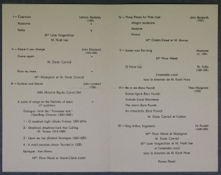Inside of the programme for a concert at the Cercle de l'Union Interallié 1951