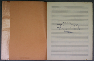 Contents-page autograph manuscript for five songs to poems by Pound and Macneice