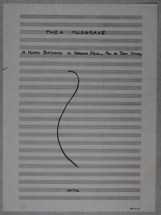 Title-page of the fair copy of Musgrave's variation on Happy Birthday