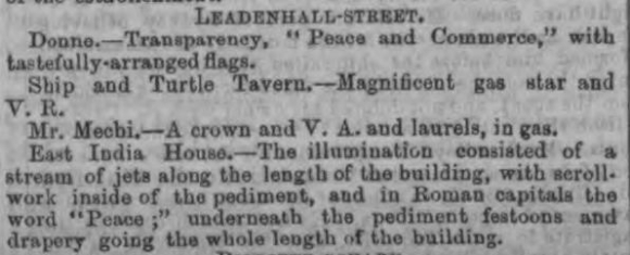 Newspaper article about East India House illuminations 1856