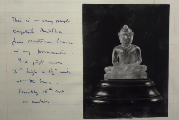 Documentation about a small crystal Buddha statue that Le May collected in the North of Siam. British Library, MSS Eur C275/6