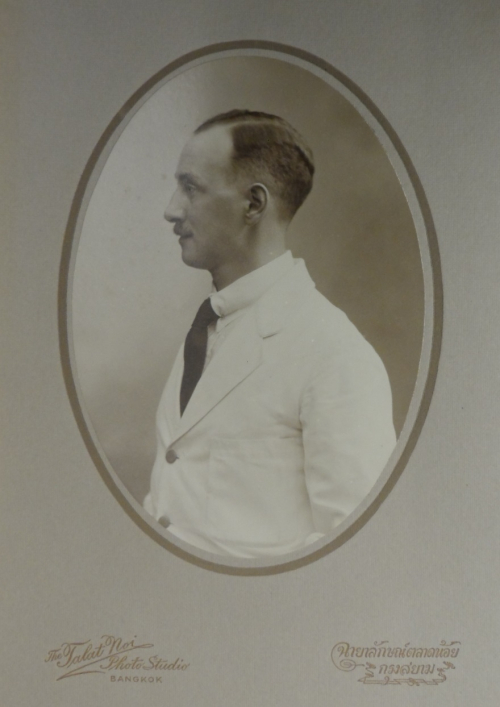 Photograph of Reginald Le May made around 1925 at the Talat Noi Photo Studio in Bangkok. British Library, MSS Eur C275/6