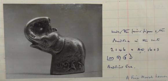 Notes on a small bronze elephant figurine, dated 1603 A.D., collected by Le May in Northern Siam. MSS Eur C275/6