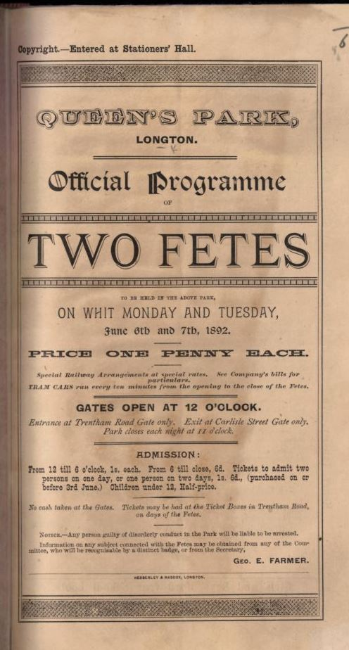 Programme of events for fetes at Longton 6 and 7 June 1892