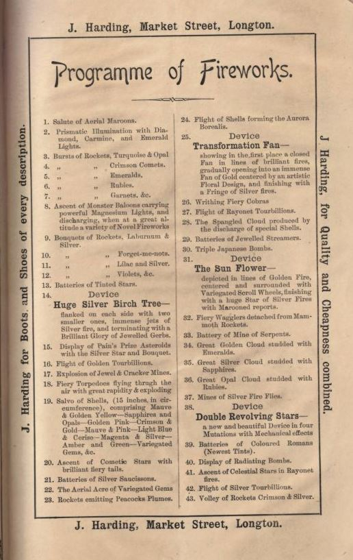 Programme of fireworks Longton 6 and 7 June 1892
