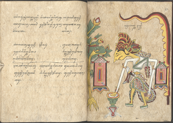 Pawukon, Javanese calendrical compilation with illustrations of the gods and goddesses associated with each week (wuku), 1807. British Library, Add 12338, ff. 92v-93r