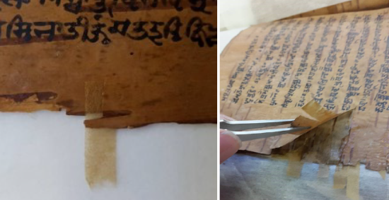 Strips of Inter-woven toned Japanese tissue have been inserted into the birch-bark edges. The first of two images shows a close-up of the tissue, protruding somewhat away from the edge of the leaf, while the second image shows tweezers lifting up a section of page to reveal tissue paper consolidating underneath.