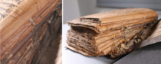 Two images showing the repairs to the spine edge of textblock. The first image is a close-up, showing the repaired stitching to the headband, while the second displays the manuscript where the leaves are shown bound up into the textblock.