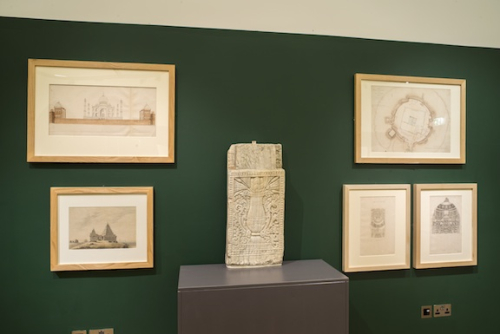 Selection of drawings and plans relating to the Buddhist stupa at Amaravati as well as a limestone panel with a high necked vase called a Pūrṇaghaṭa (dating to circa 8th-9th centuries) from the British Museum (1880,0709.68) are on display. Photograph by John Falconer, 2017