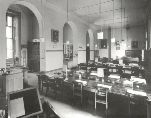 The Department of Manuscripts Students' Room in the British Museum (photo from the departmental archives).