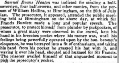 Report of Heaton's crime from Evening Mail 16 August 1830