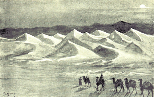 Pencil sketch, Sand hills of the Gobi Desert, with camel train