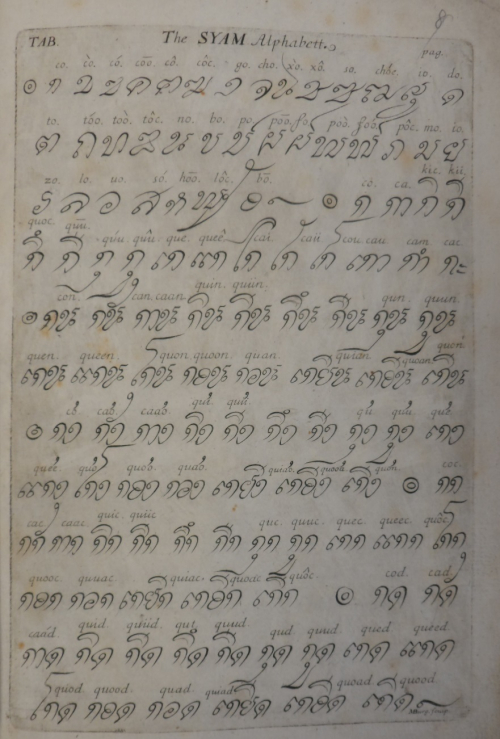 Engraving of the Thai alphabet and syllables, based on the handwritten syllabary presented to Charles II in 1684. British Library, Or.70.bb.9, f.8