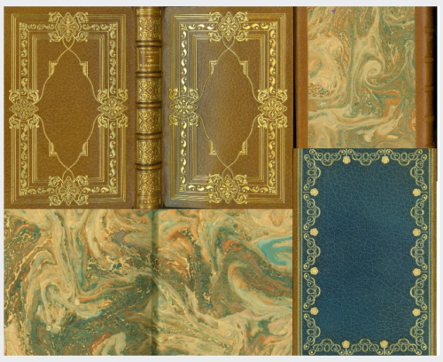 Composite image showing book covers and marbelled endpapers
