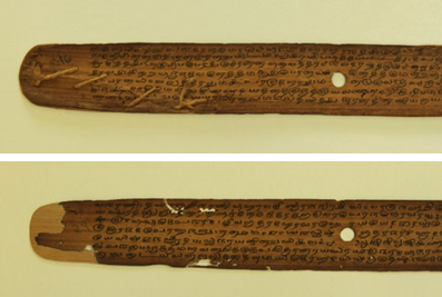 The top image shows a palm leaf repaired with string along the bottom left edge, and the bottom image shows a palm leaf repaired with palm leaf on the left hand side.