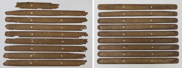 On the left is 9 palm leaves prior to treatment, and on the right the holes and losses have been filled.