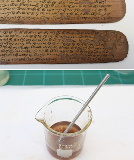 The top image shows a close up of two palm leaves infilled by hand. The bottom image shows a beaker with paper pulp and the needle used for infilling.