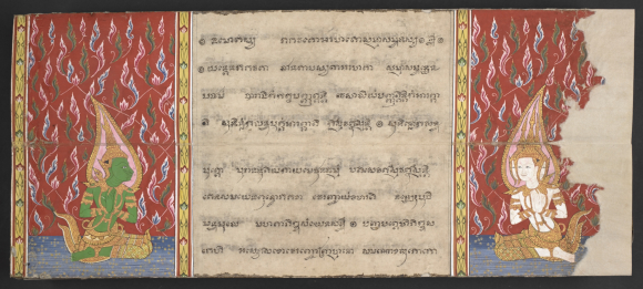 The gods Indra (left) and Brahma (right) in their heavenly environment. From a central Thai folding book containing a selection of Buddhist texts and the legend of Phra Malai, 19th century. British Library, Or 15257 f. 2