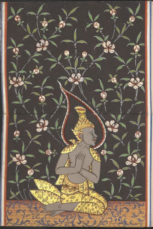 A hermit seated in a respectful pose on a floor decorated with blue foliage before a black background with a white, pink and green floral pattern. From a central Thai folding book containing a selection of Buddhist texts and the legend of Phra Malai, dated 1903. From Soren Egerod's collection. British Library, Or 15370, f. 10