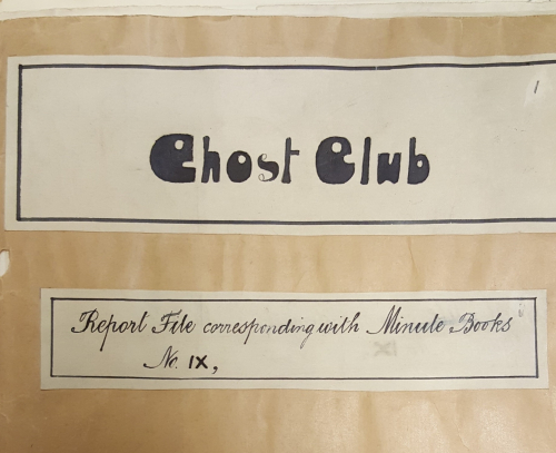 Cover of a manila report file from the Ghost Club archive