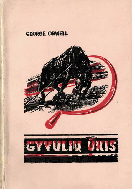 Cover of a  Lithuanian translation of Animal Farm showing an exhausted horse dragging a cart
