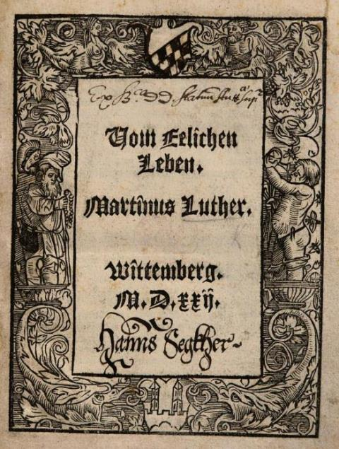 Title-page of 'Vom Eelichen Leben' with a decorative border and contemporary ownership inscription