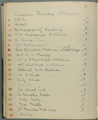 Guest list, with annotations