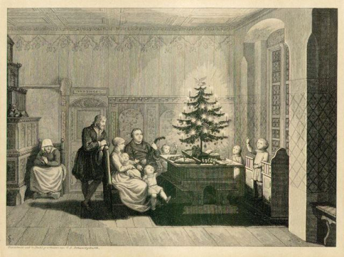 Luther and his household looking at a Christmas tree