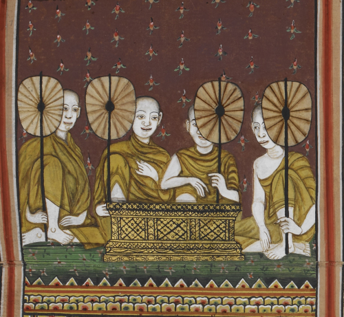 Illustration of four monks with fans and a gilded manuscript box preparing to chant at a wake. From a central Thai folding book, 19th century. British Library, Or.14117, f. 7