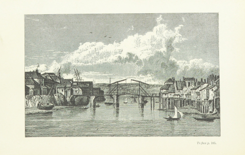 Print drawing showing boats in Whitby harbour