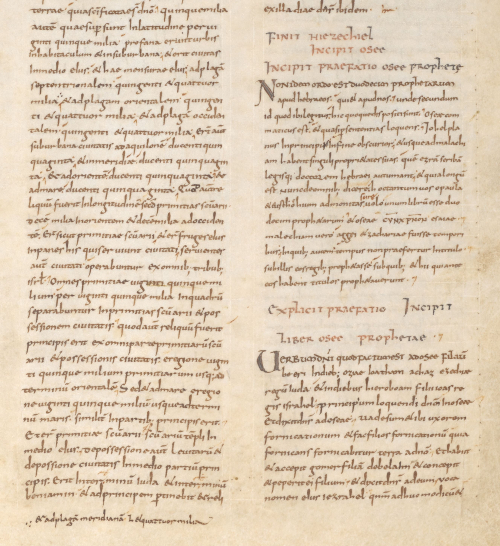 A page from an early 9th-century Bible, showing the end of the Book of Ezekiel, with a correction to the Latin text in the margin.